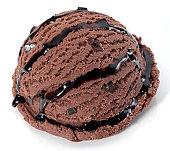Scoop of chocolate ice cream with chocolate sauce