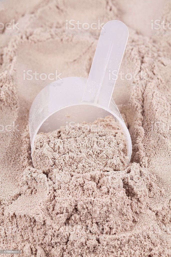 Scoop of chocolate whey isolate protein royalty-free stock photo