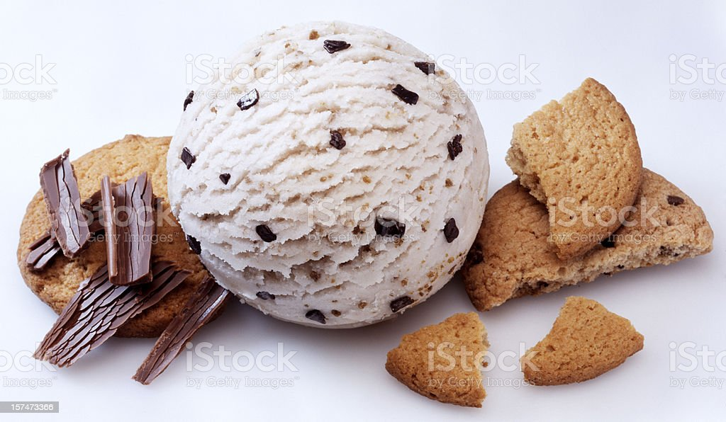 A scoop of cookies and cream ice cream with cookies stock photo