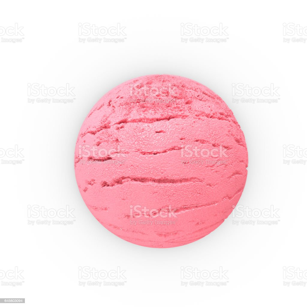 Scoop of strawberry ice ball. Extreme close-up. 3D Rendering stock photo