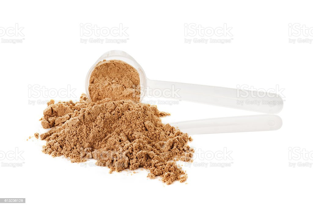 Scoop of whey protein isolated on white background. Chocolate flawour stock photo