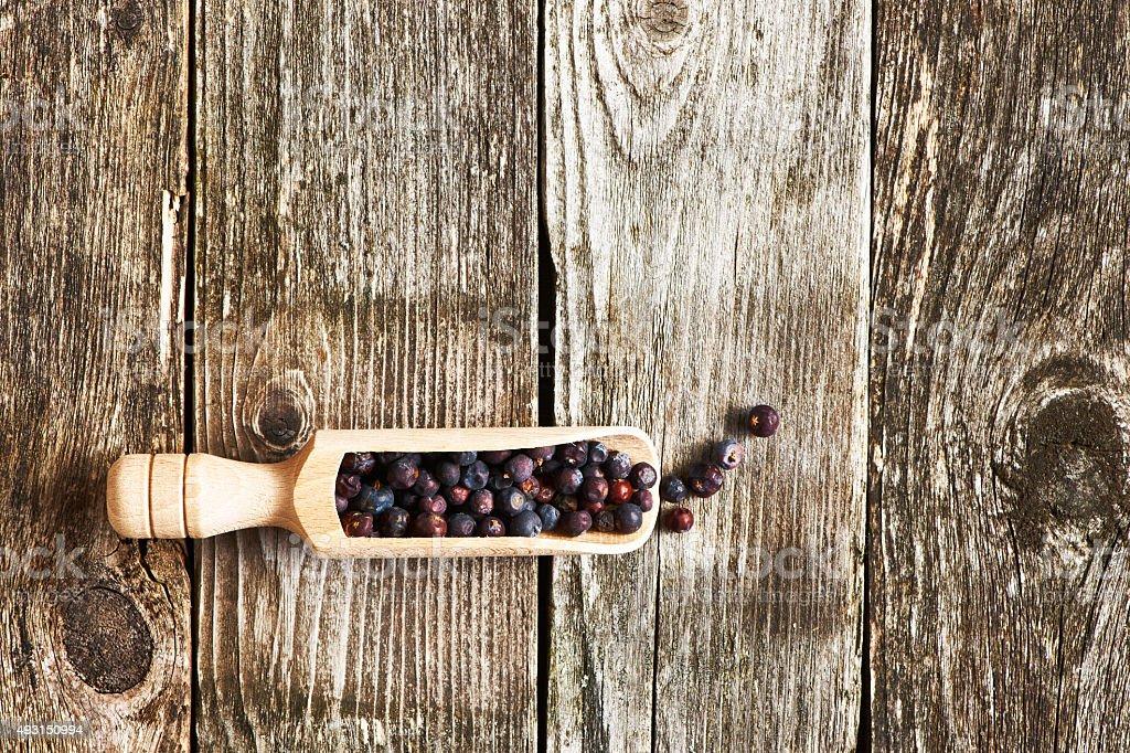 Scoop with dried juniper berries stock photo