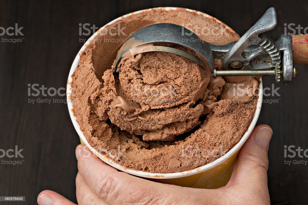 Scooping Chocolate Ice Cream stock photo