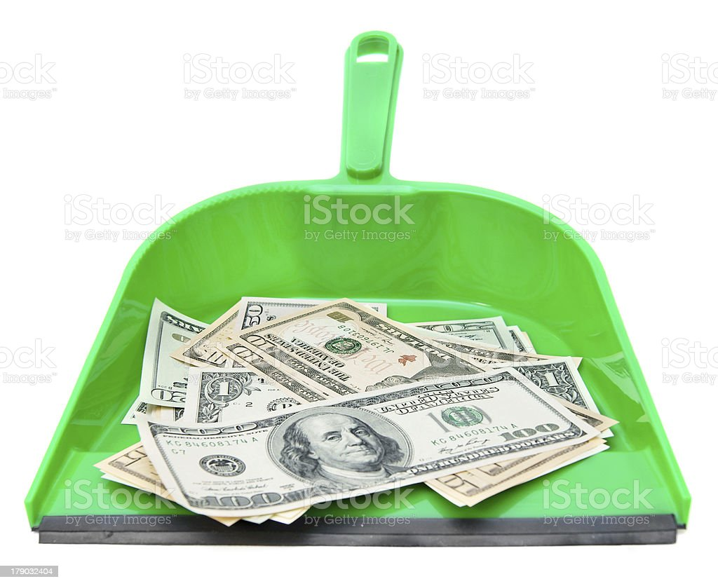 Scoops and money. On a white background royalty-free stock photo