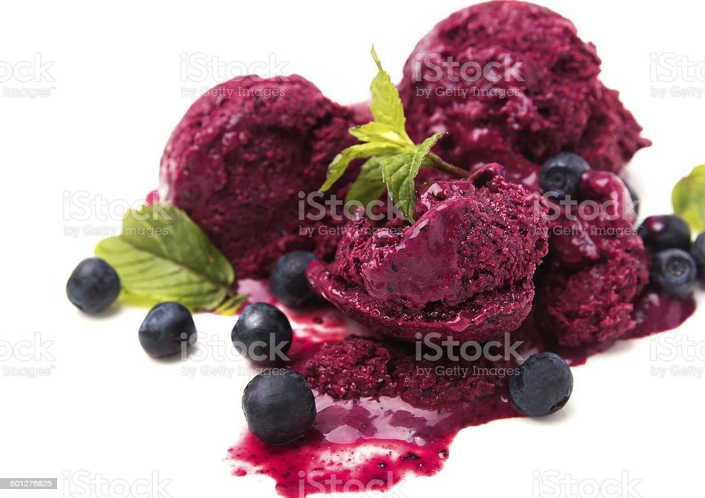 Scoops of blueberry ice-cream stock photo
