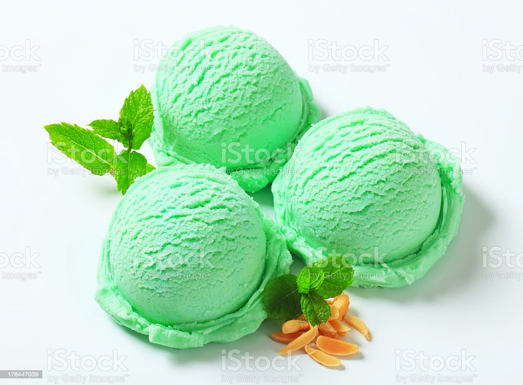 Scoops of green ice cream royalty-free stock photo