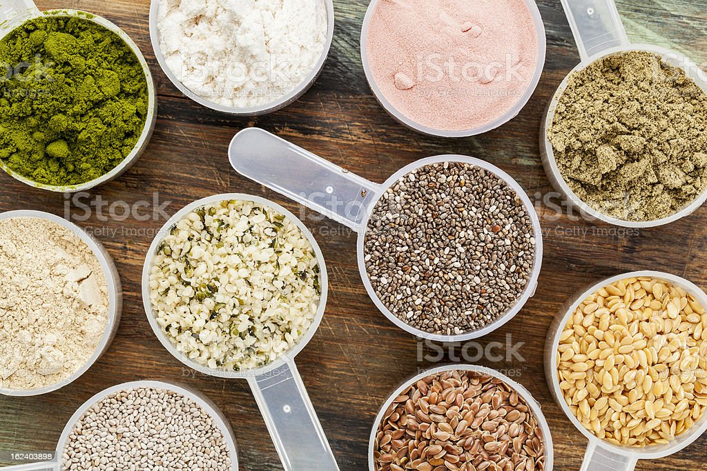scoops of superfood stock photo