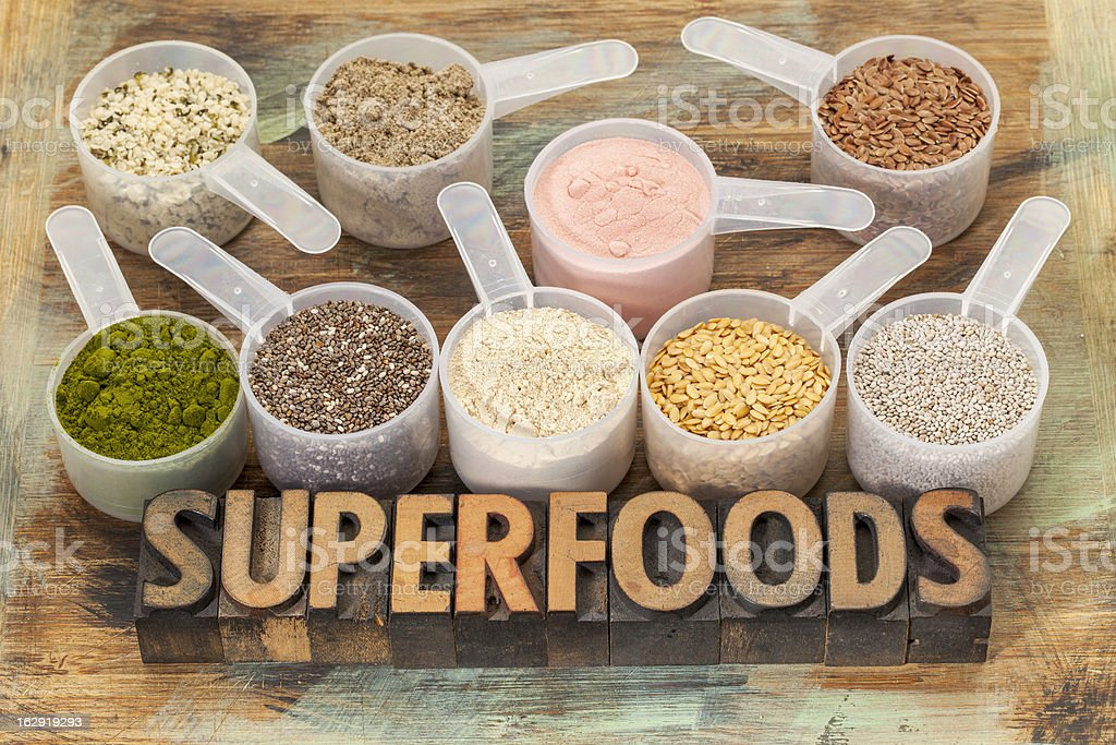 scoops of superfoods stock photo
