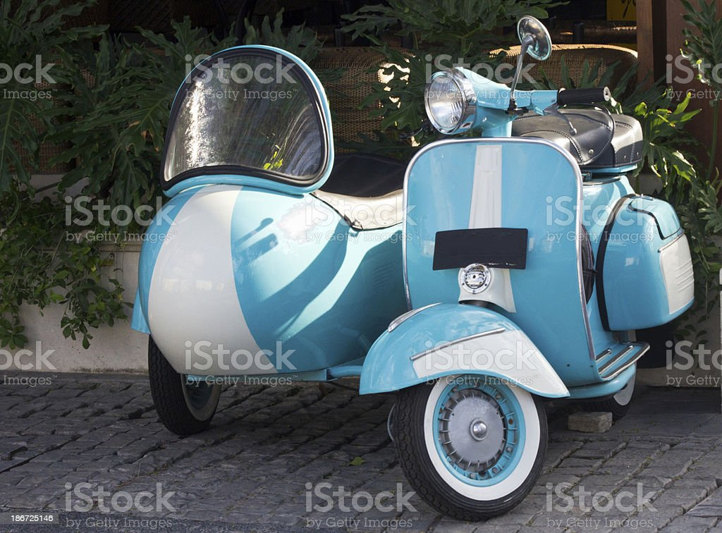 Scooter and sidecar stock photo