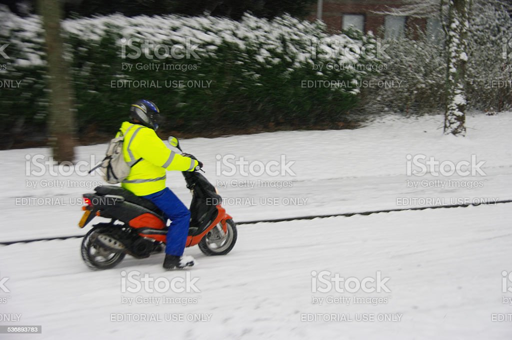 Scooter in the snow stock photo
