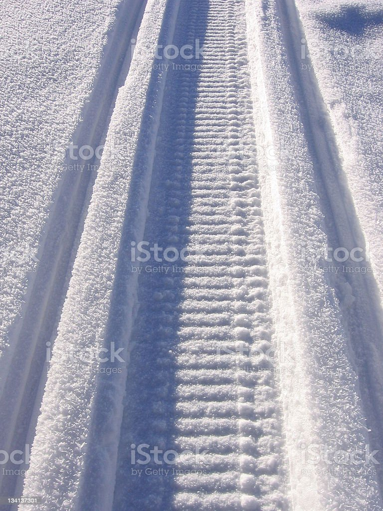scooter snowmobile path stock photo