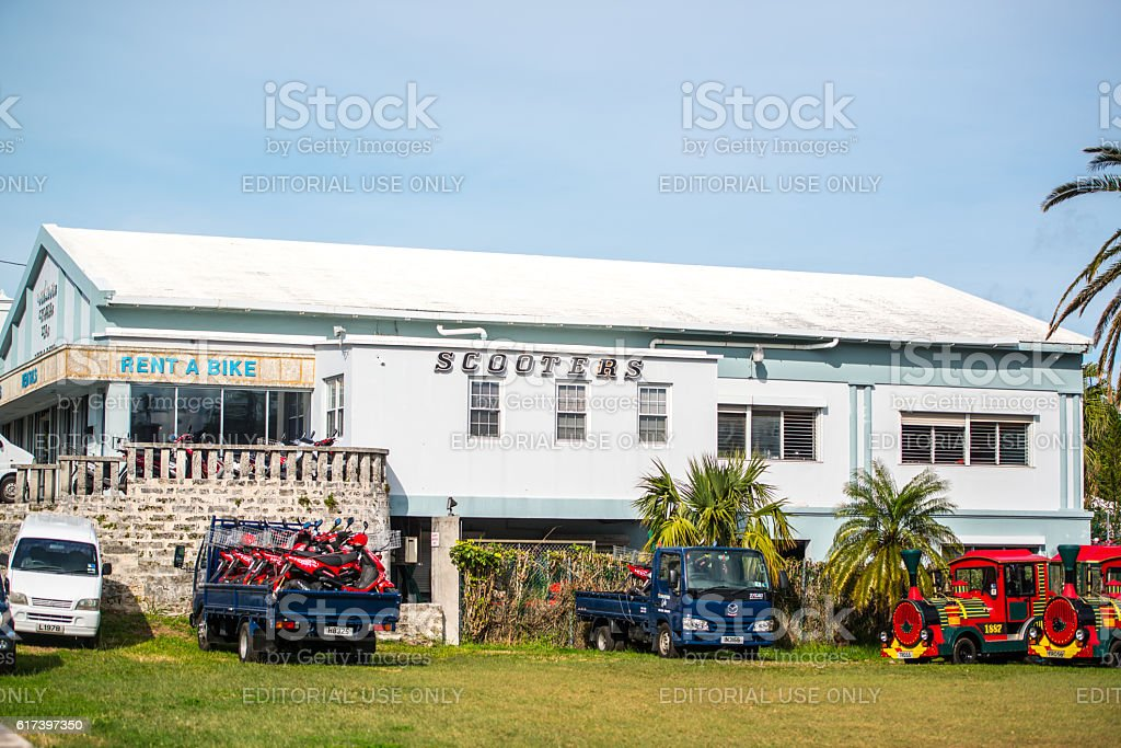 Scooters and bikes rental on Bermuda stock photo