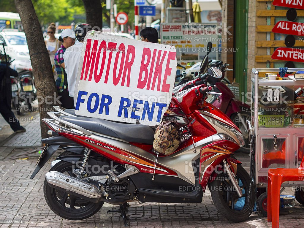 Scooters for Rent, Ho Chi Minh City, Vietnam royalty-free stock photo