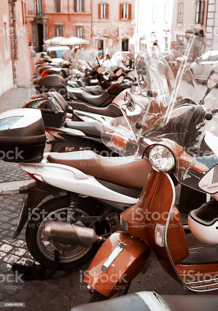 scooters for rental in the city stock photo