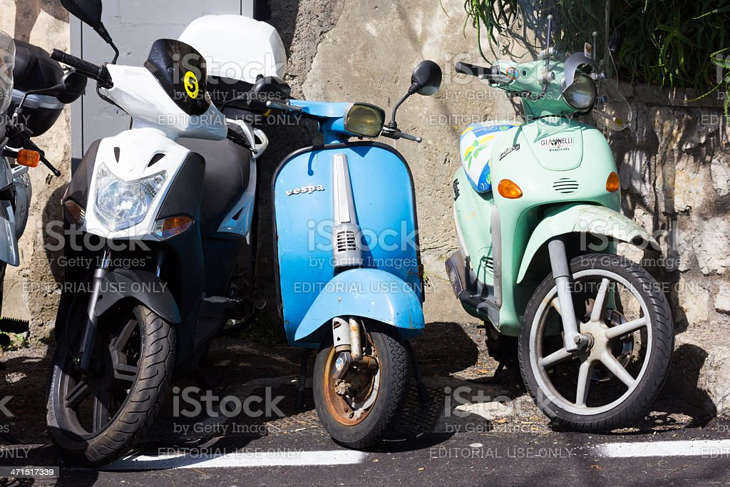 Scooters in Positano, Italy royalty-free stock photo