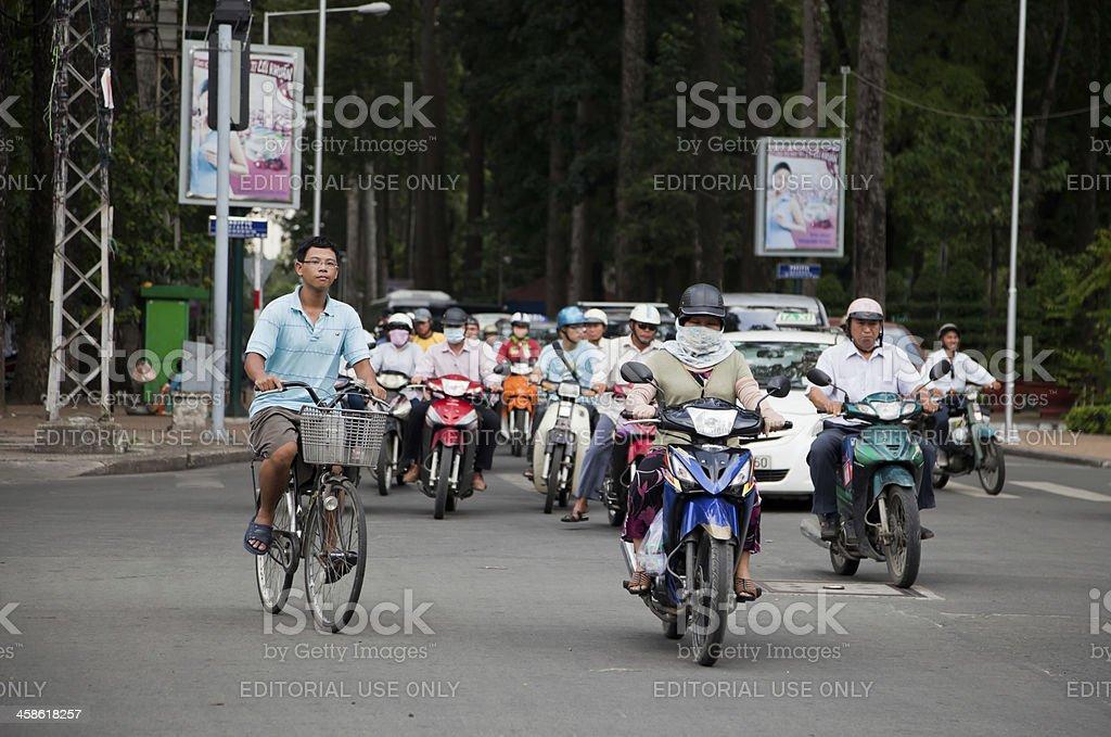 Scooters in Traffic, Ho Chi Minh City (Saigon), Vietnam royalty-free stock photo