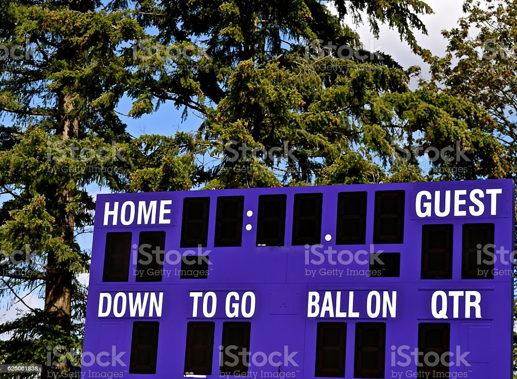 Football score board ready for a game.