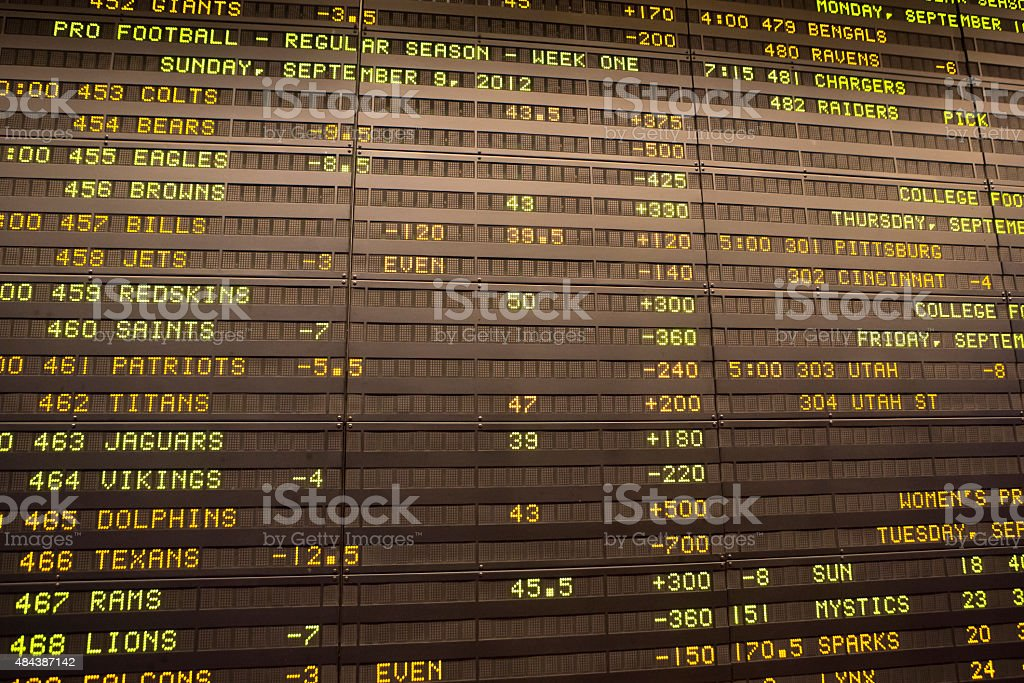 Score board with American football scores stock photo