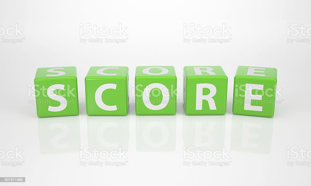 Score out of green Letter Dices stock photo
