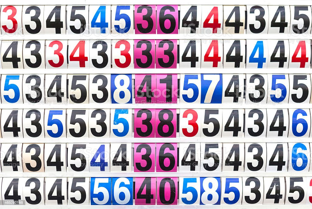 Score result on the multicolor mechanical scoreboard number. stock photo