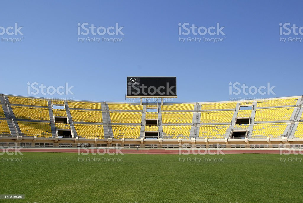 Scoreboard in Empty Stadium stock photo