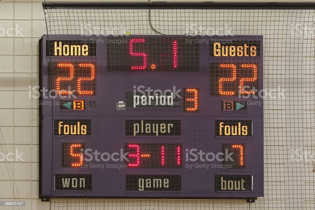 Scoreboard showing 3rd quarter results tied at 22 stock photo