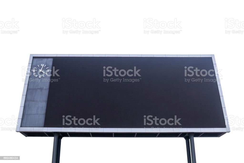 Scoreboard with black blank screen for reporting sporting events. Isolated white background stock photo