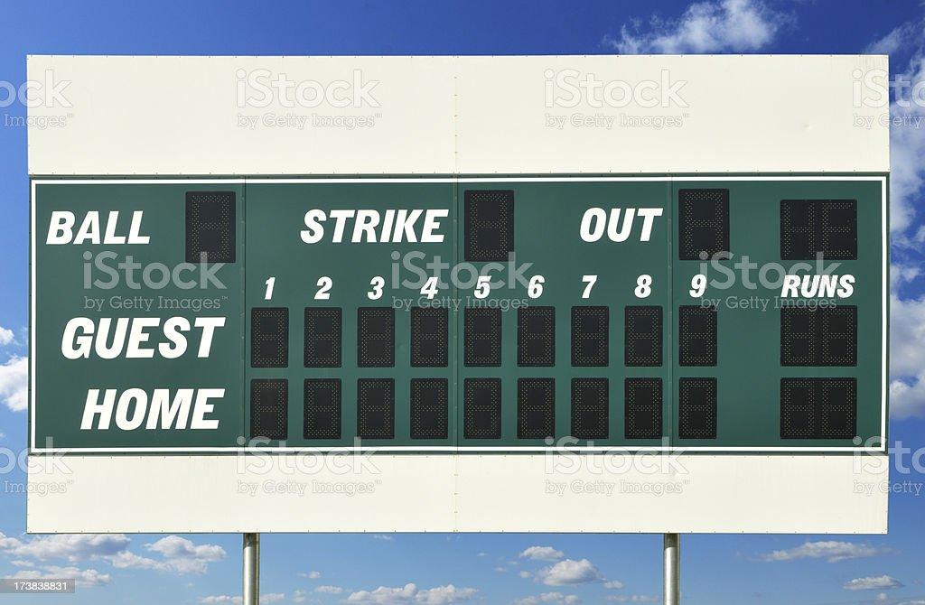 Scoreboard with Blue Sky stock photo