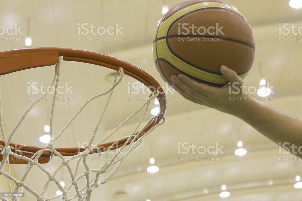 scoring basket in basketball court royalty-free stock photo