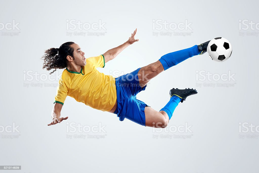 scoring goal man stock photo