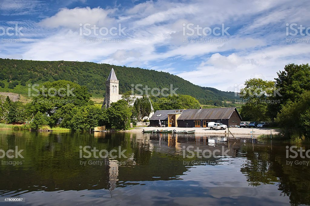 Scot lake, hill, blue sky, hut and reflection royalty-free stock photo