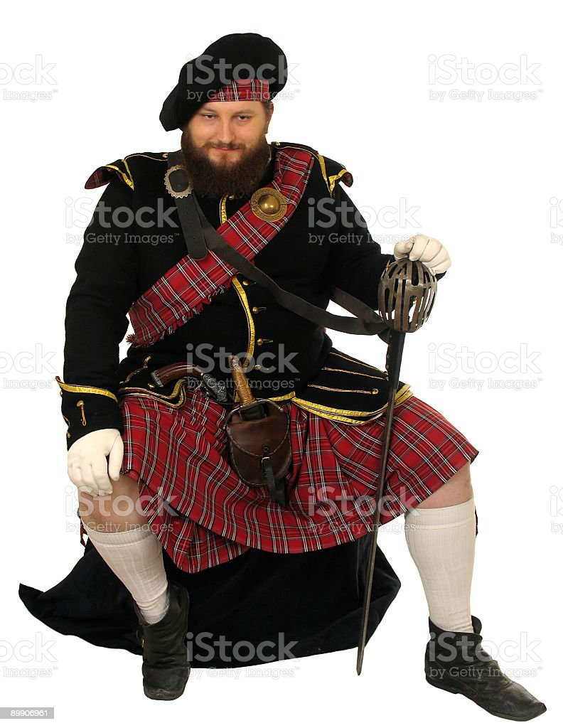 Scot warrior with sword stock photo