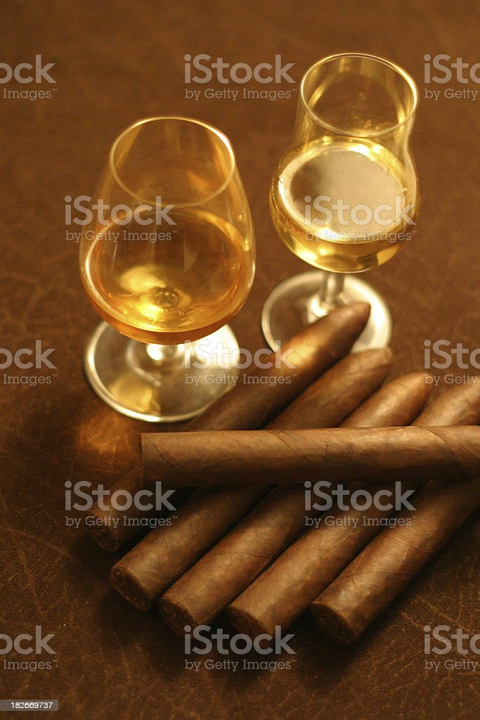 Scotch and Cigars royalty-free stock photo