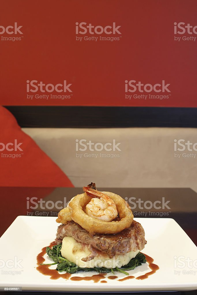 Scotch, Fillet with Tempura Prawns royalty-free stock photo