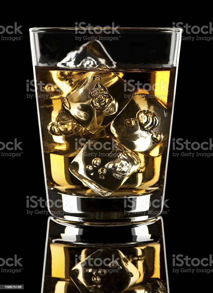 Scotch Whiskey Rocks Cocktail on Black royalty-free stock photo