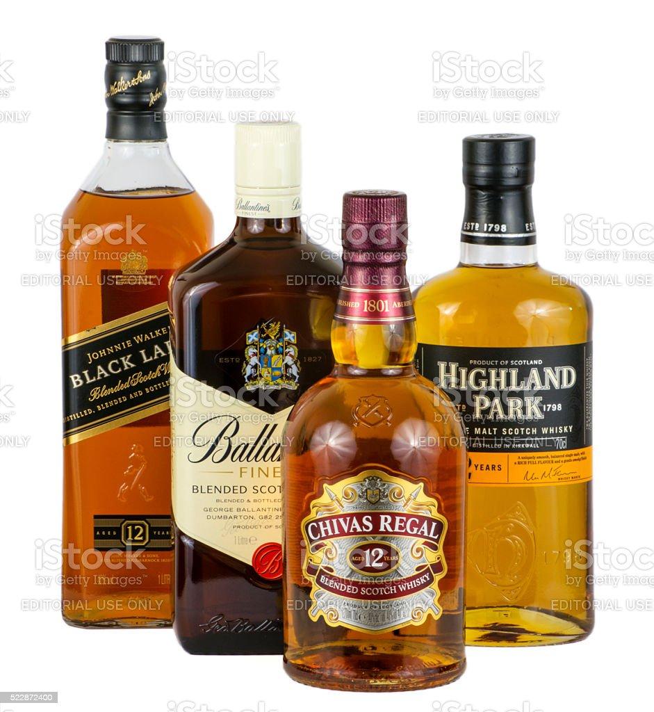 4 Scotch Whiskies stock photo