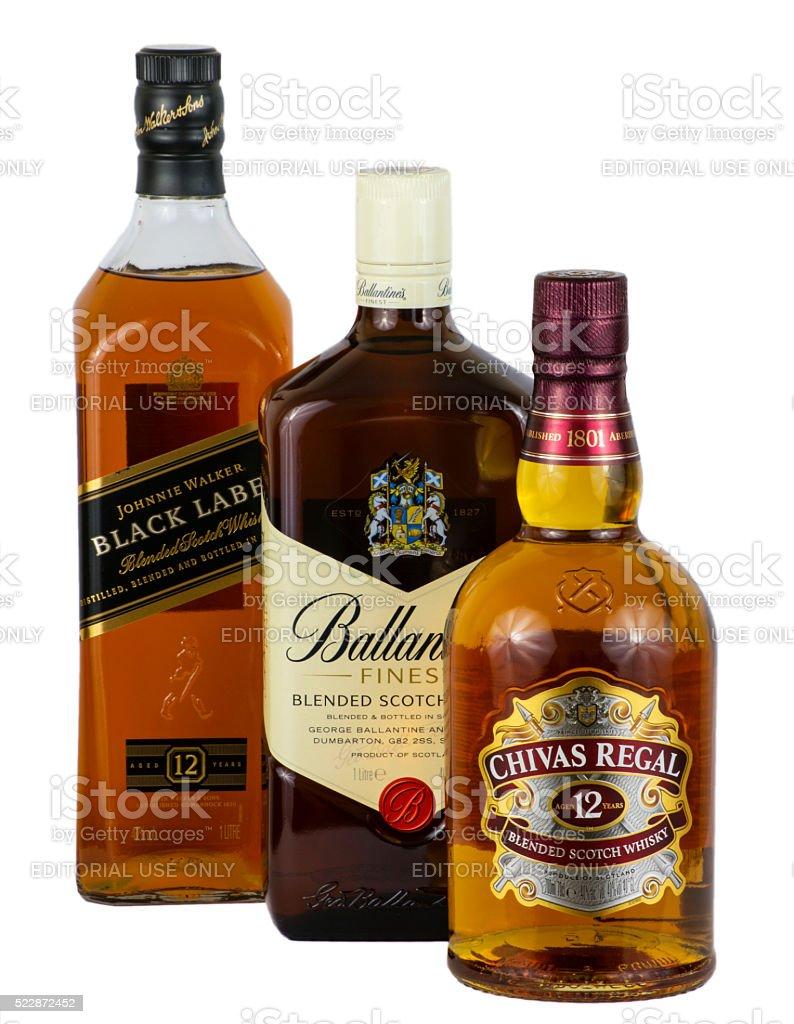 3 Scotch Whiskies stock photo