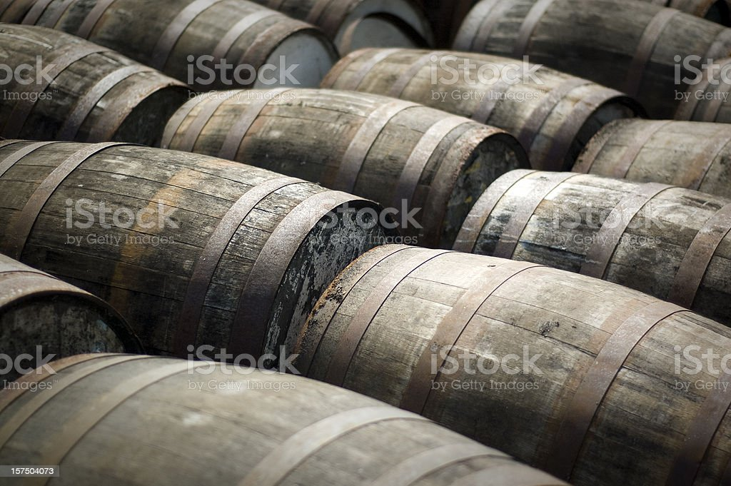 Scotch Whisky Barrels stock photo