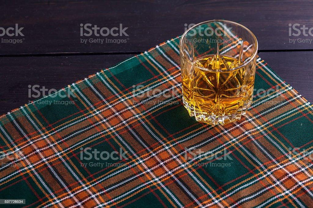Scotch whisky on tartan stock photo