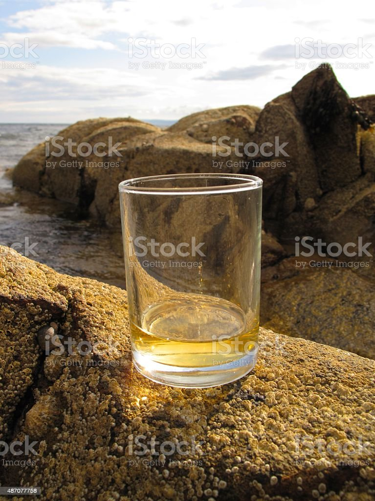 Scotch whisky on the rocks pun intended stock photo