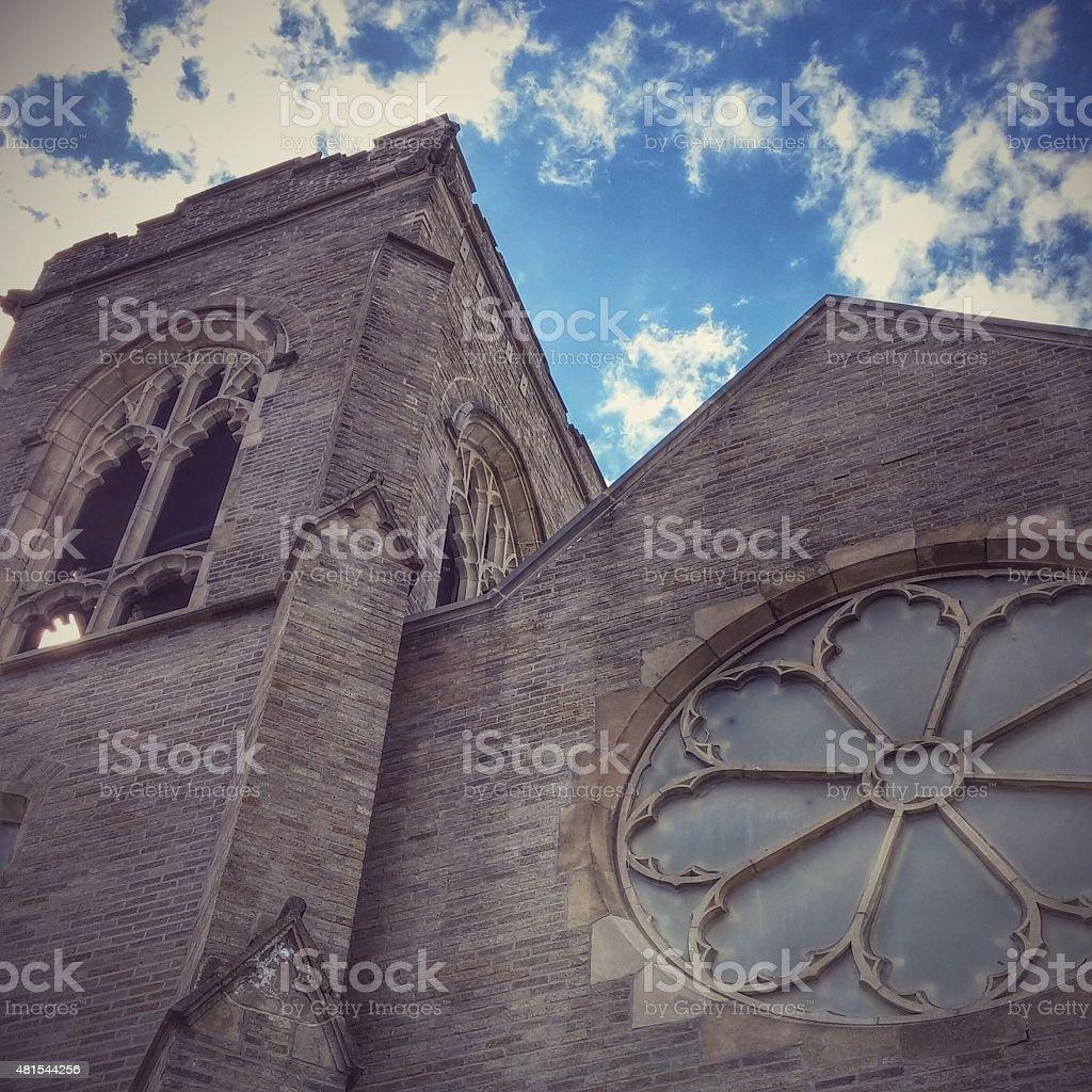 Scotia United Methodist Stone Church, Gothic Windows, New York stock photo