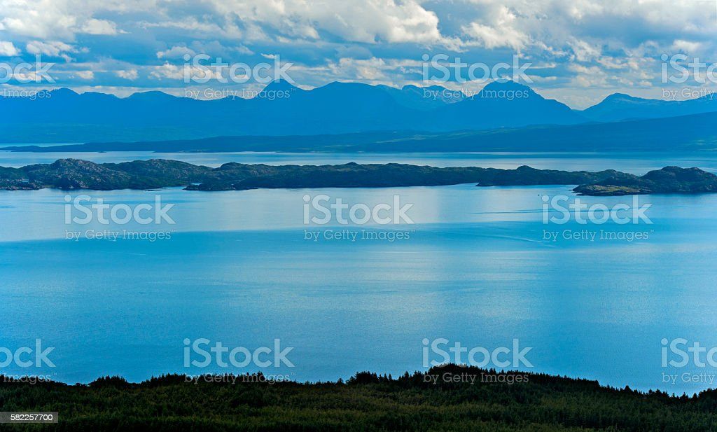 Scotish coastline of the Trotternish peninsula stock photo