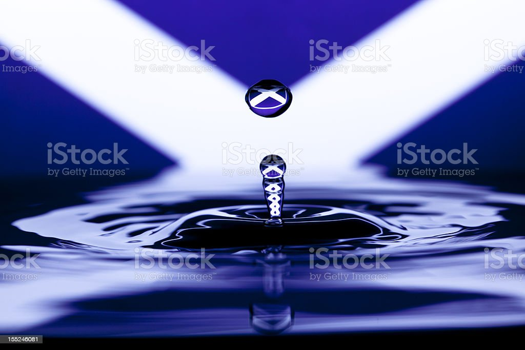 Scotish Saltire water drop stock photo