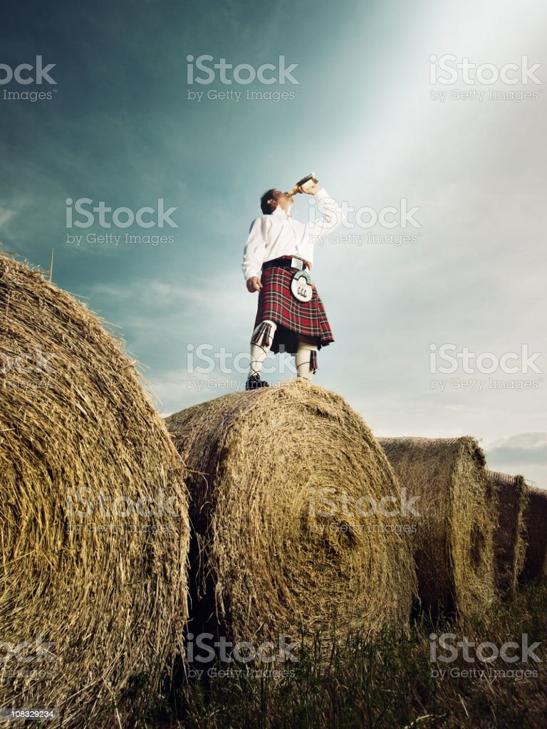 Scotish whisky drinker stock photo