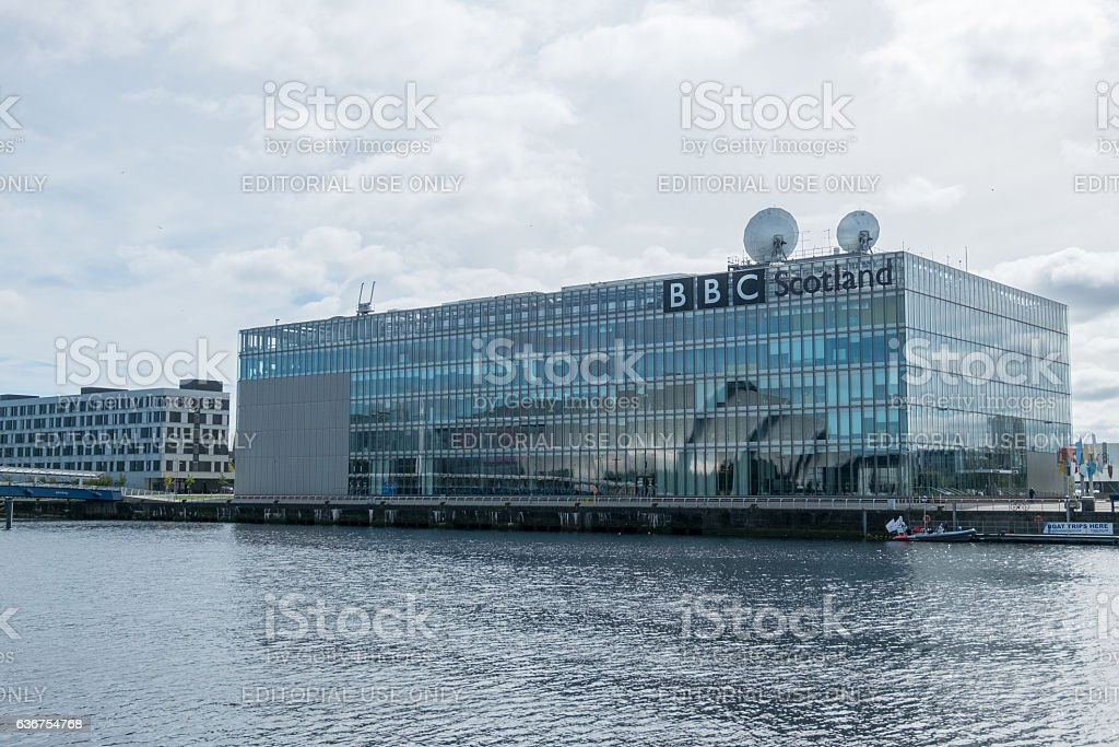 BBC Scotland and Buildings along Clyde River in Glasgow stock photo