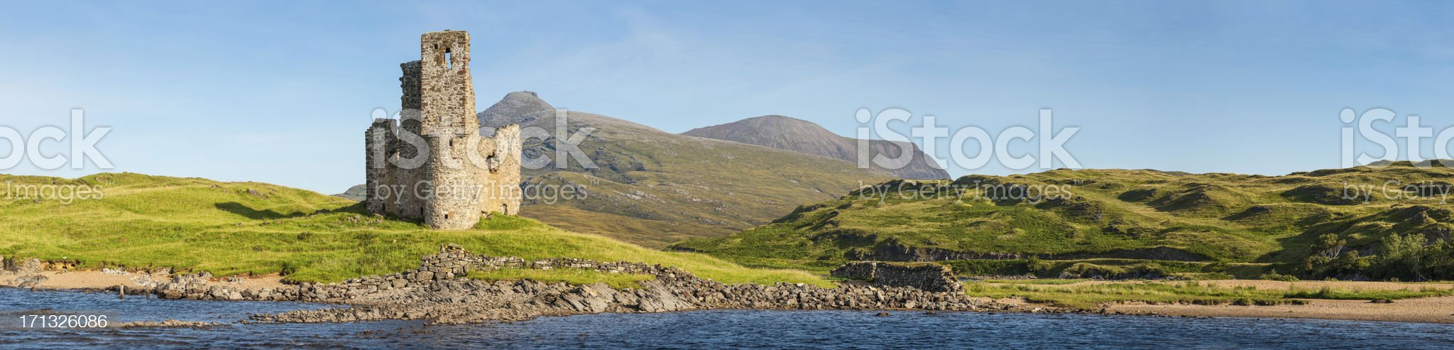 Scotland castle ruins beside loch and mountain peaks panorama royalty-free stock photo