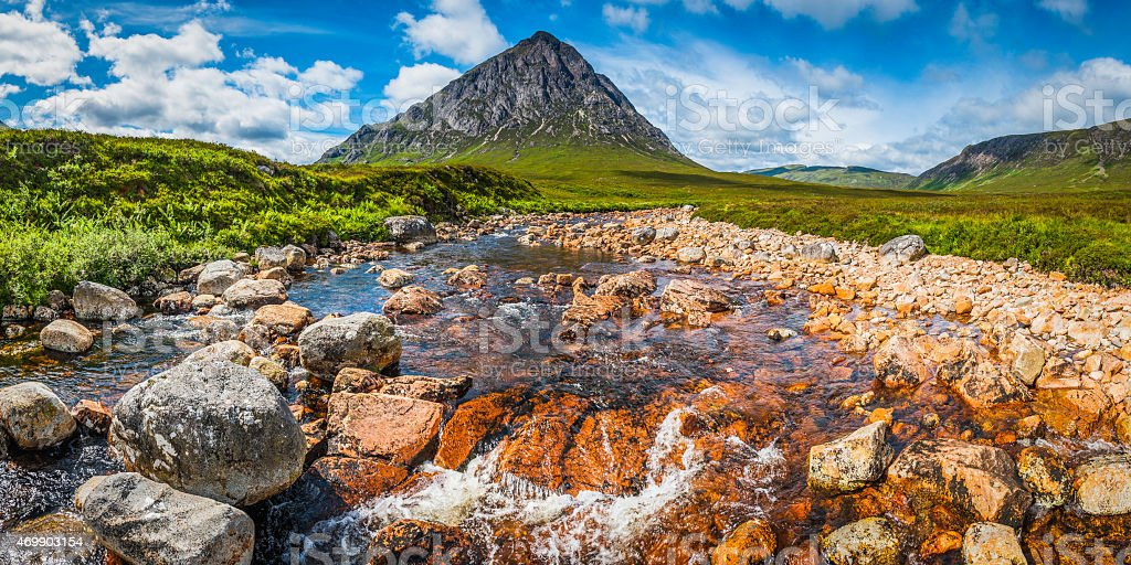 Scotland Glen Coe Buachaille Etive Mor iconic Highlands mountain panorama stock photo