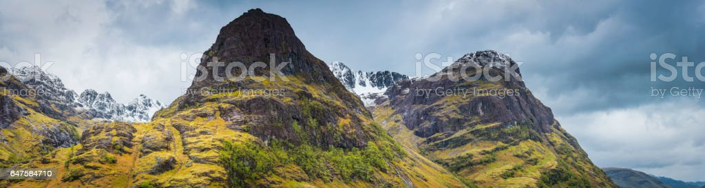 Scotland Glencoe Bidean nam Bian iconic Highlands mountain peaks panorama stock photo