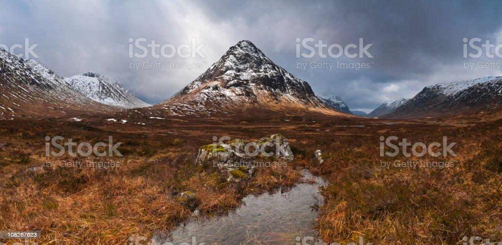 Scotland Glencoe dramatic sunlight illuminated stock photo