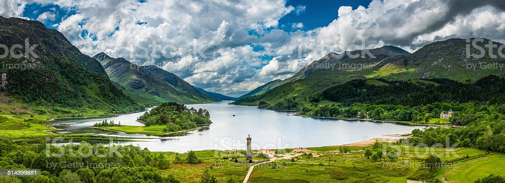 Scotland Glenfinnan dramatic Highlands mountain landscape Loch Shiel panorama stock photo